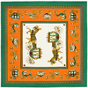 100 Silk Euro Brand Style Women Horse And Carriage Printed Green Color 130cm 130cm Silk Square