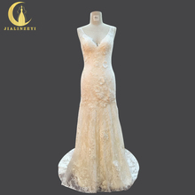 JIALINZEYI Sexy V Neck Lace With Flowers Mermaid Nude lining Fashion Hot Sale Bridal Wedding Dresses Wedding Gown 2018