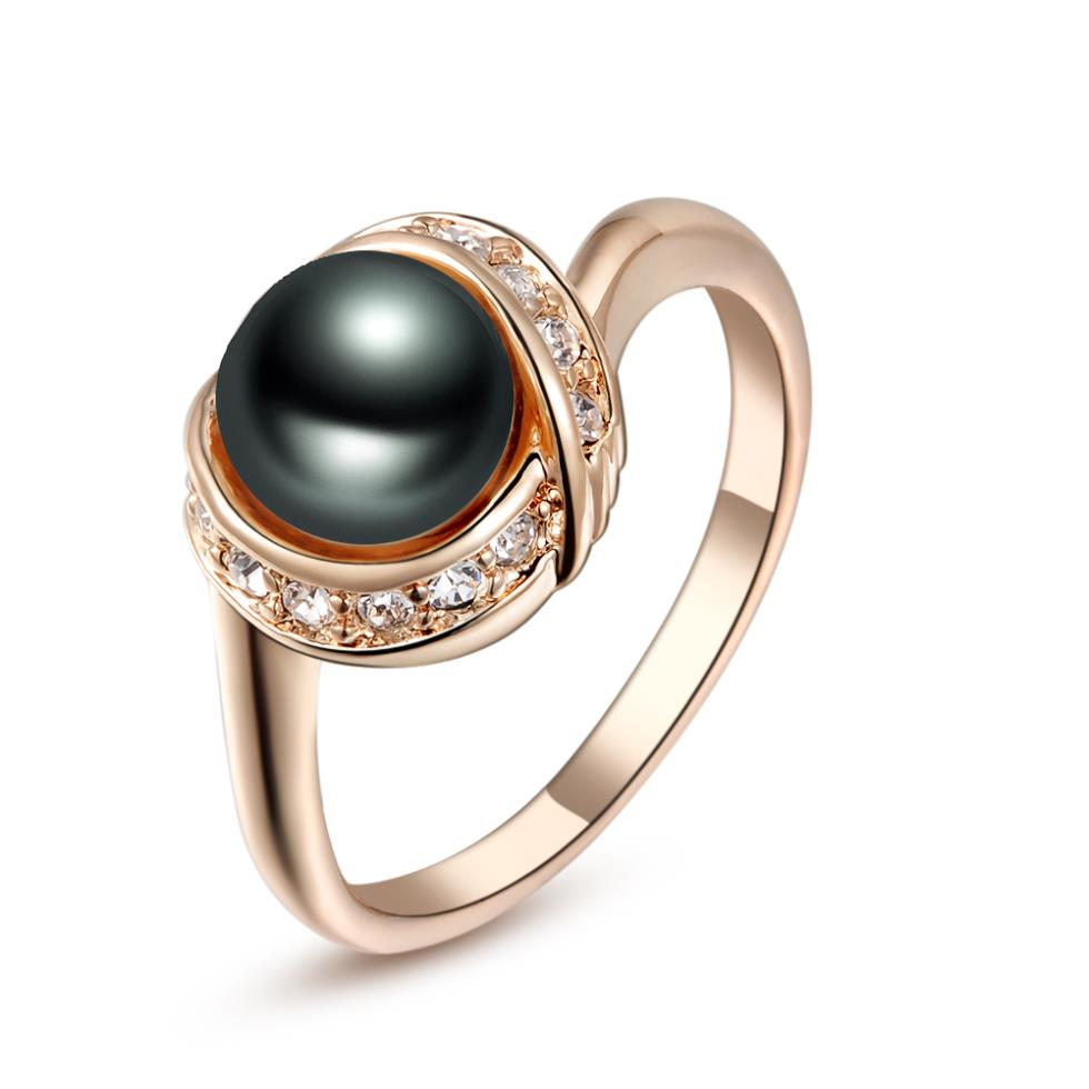 Brand Tracyswing Genuine Crystal Rose Gold Color Simulated Pearl Rings For  Women Healthy New Sale #