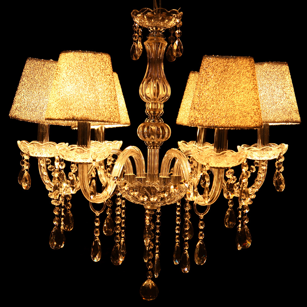 (Shipping From DE ) Living room candle crystal chandelier hanging lamps hades E14