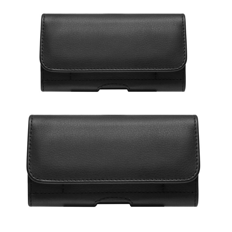 NoEnName_Null High Quality Leather Fanny Pack PU Leather Horizontal Waist Belt Clip Pouch Phone Bag For Men