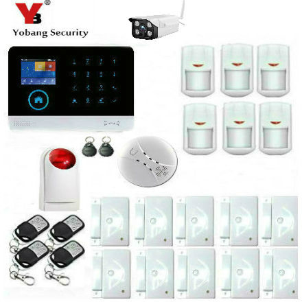 YobangSecurity Wifi Wireless Home Security Alarm System DIY Kit with Outdoor IP Camera Wireless Siren Smoke Fire Detector Sensor yobangsecurity gsm wifi gprs wireless home business security alarm system with wireless ip camera smoke fire dual motion sensor