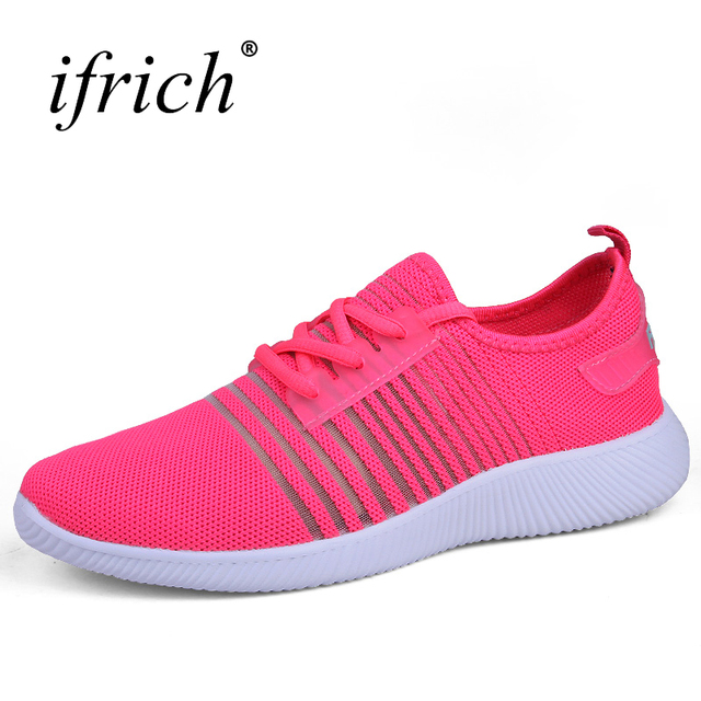 Pink Hard Court Running Shoes Breathable Fashion Lace-Up Sneakers for Women- 7