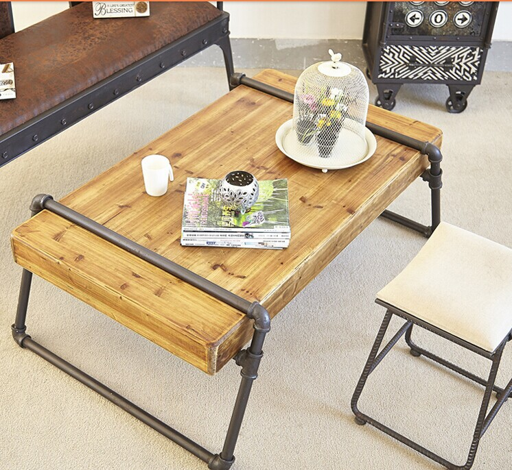 Industrial Pipe Coffee Table, Solid Wood Furniture Factory