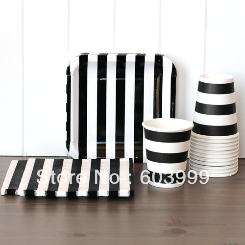 Black and White Striped Tableware Set - Candy Stripe Black 18.5 cm Square Paper Party Plates  sc 1 st  AliExpress.com : black and white striped paper plates - Pezcame.Com