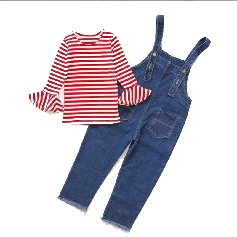 2018 New Spring Girls Children Denim Jeans Jumpsuit Overalls Pants + Striped T shirt Tracksuit Sets For Teenagers Girls Kids 71 free shipping 2016 womens jumpsuit denim overalls high waist casual vintage loose pants pockets women boyfriend jeans plus size