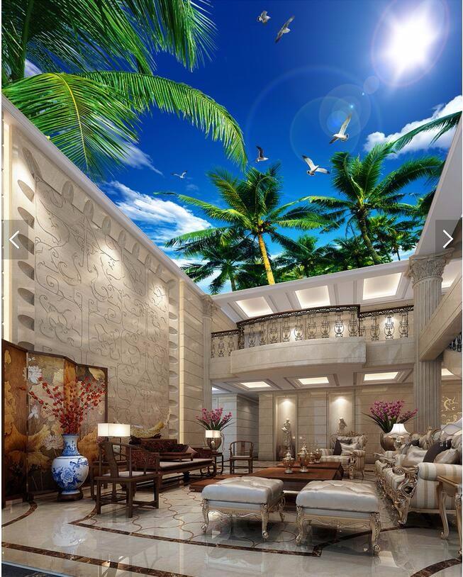 custom 3D wallpaper living room Blue sky palm sun smallpox top Art Hotel Restaurant mural murals-3d wall papers home decor 5