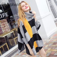 Glouphant New Hit Color Cotton Turtleneck Cloak Pullover Women Sweaters Black Striped Warm Knitted Tops Ladies