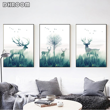Forest Landscape Wall Art Canvas Poster and Print Flying Bird Deer Painting Nordic Style Picture for Living Room Decor