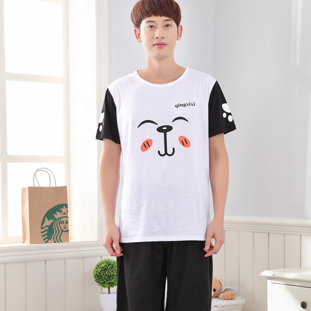 2017 - Cotton material Men's night wear cute dog pattern