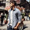 SIMWOOD 2016 Nuevo Otoño Casul hombres Camisetas De Rayas de manga larga 100% algodón ropa de marca de alta calidad slim fit CS1564
