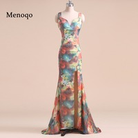PRD268 Real Sample Beautiful Mermaid Evening dresses Chiffon Split Party gown 2018 Formal Long Flower Printed floral prom dress