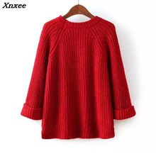 Womens Sweaters And Pullovers New 2018 Autumn Long Sleeve Knitted Sweater Round Neck Loose Female Casual