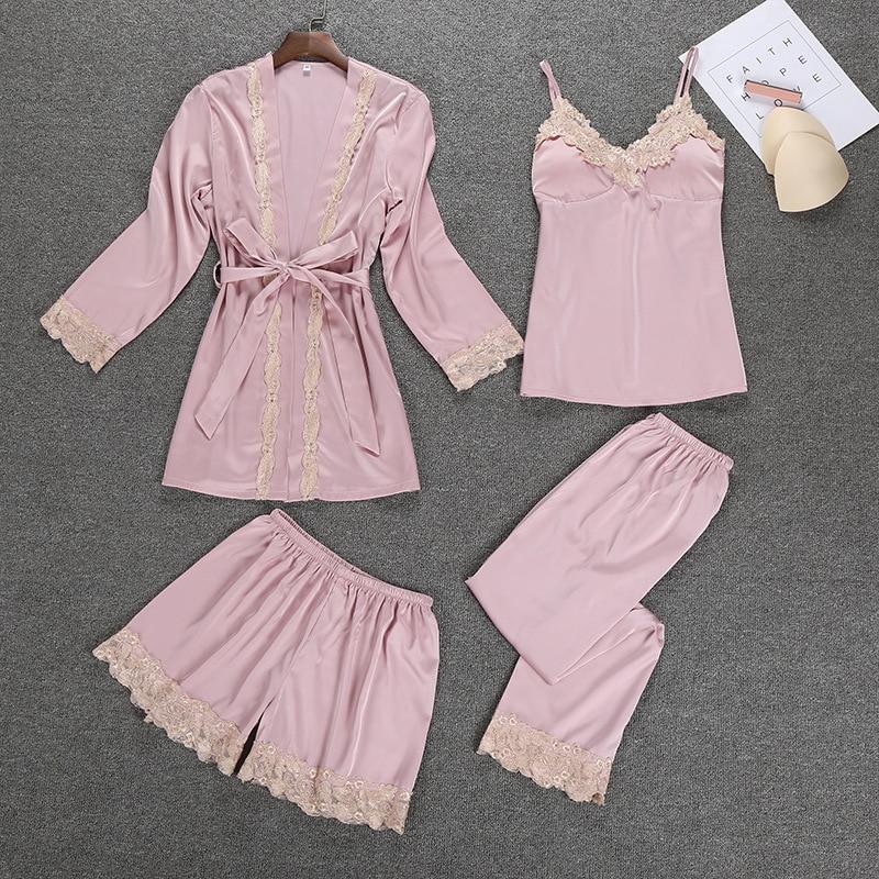 New Women Silk Satin Sleepwear   Set   New Robe+Slip Top+Pant+Shorts 4 Pieces Lace Nightwear Summer   Pajama     Set   ELegant Home Clothing