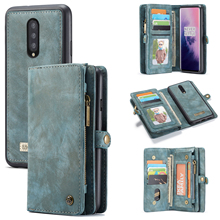 Case Me For OenPlus 7 Pro Multifunction Vintage Stand Leather+Soft TPU Magnetic Flip Wallet Slot Separable Anti-fall Phone Case