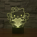Historieta linda hello kitty 3d lámpara de 7 colores que cambian led lamparita iy803503 sensor táctil lámpara de mesa decorativa para la decoración del hogar