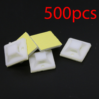 500pcs Self Adhesive Square Cable Wire Zip Tie Holder Mount Base Clips 20x20mm
