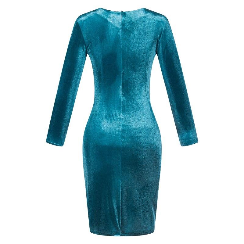 Timmiury 2017 Spring Women New Office Velvet Dress Bodycon Blue Long Sleeves Knee-length Party Dress Fashion Vestido De Festa