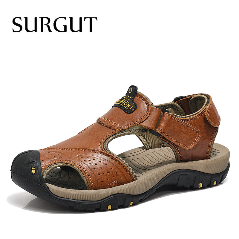 SURGUT 2020 New Men Summer Sandals Genuine Leather Brand New Beach Men Sandals Breathable Slippers High Quality Men Casual Shoes