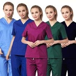 Женская медицинская униформа, классические топы с v-образным вырезом, одежда для доктора из чистого хлопка, униформа медсестры, Хирургическ...