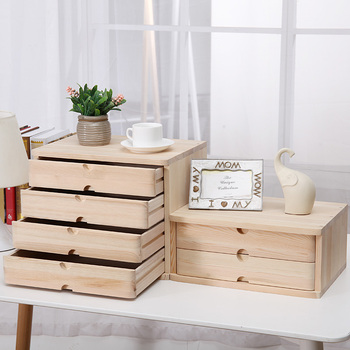 Office makeup organizer desktop debris storage box real wooden jewelry storage case small drawer type desk data file cabinet 1