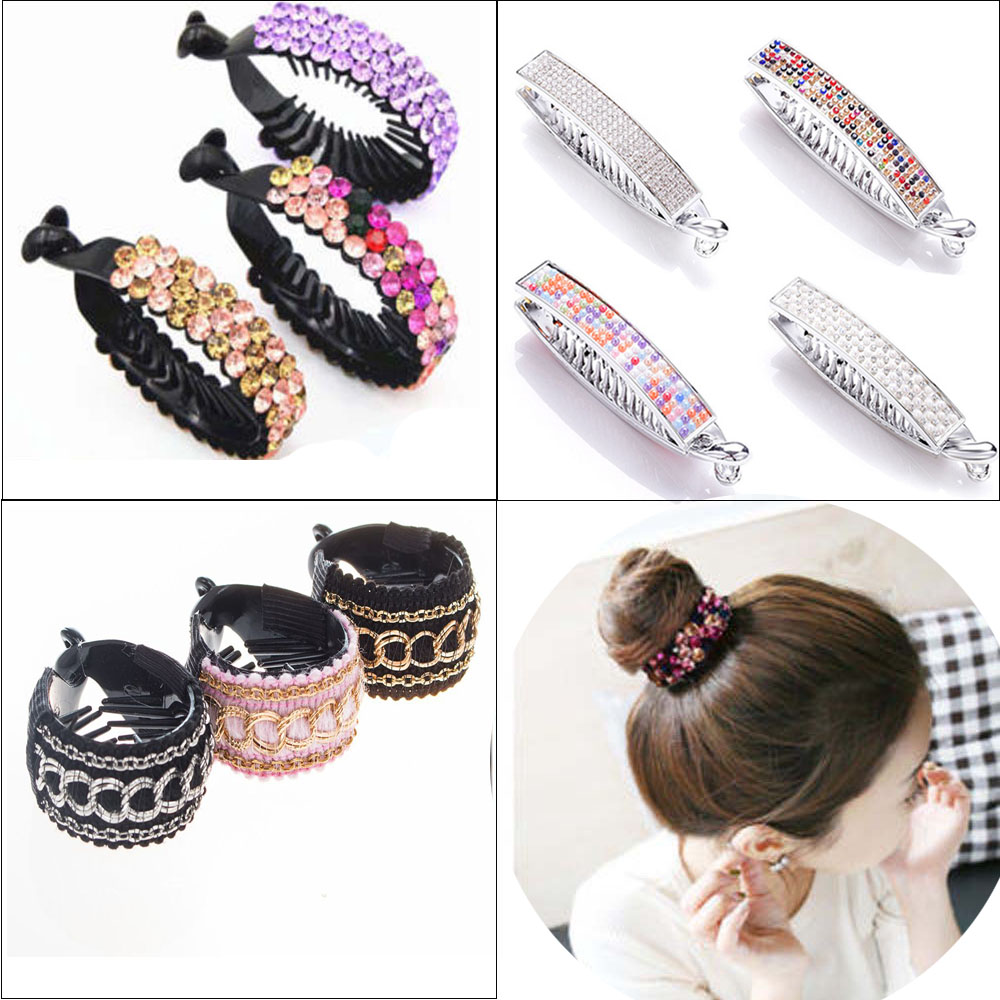 New Meatball Hair Accessories Women Hair Claws Headwear Rhinestone Flower Hairpin Bird Nest Floral Twist Clip 10 Colors