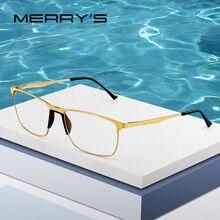MERRYS tasarım erkekler titanyum gözlük çerçeve erkek Ultralight kare göz miyopi reçete gözlük TR90 burunluklar S2003