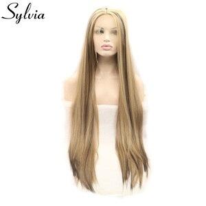 Extensión de pelo de fibra resistente al calor, peluca con malla frontal, sintético, sedoso, marrón y Rubio