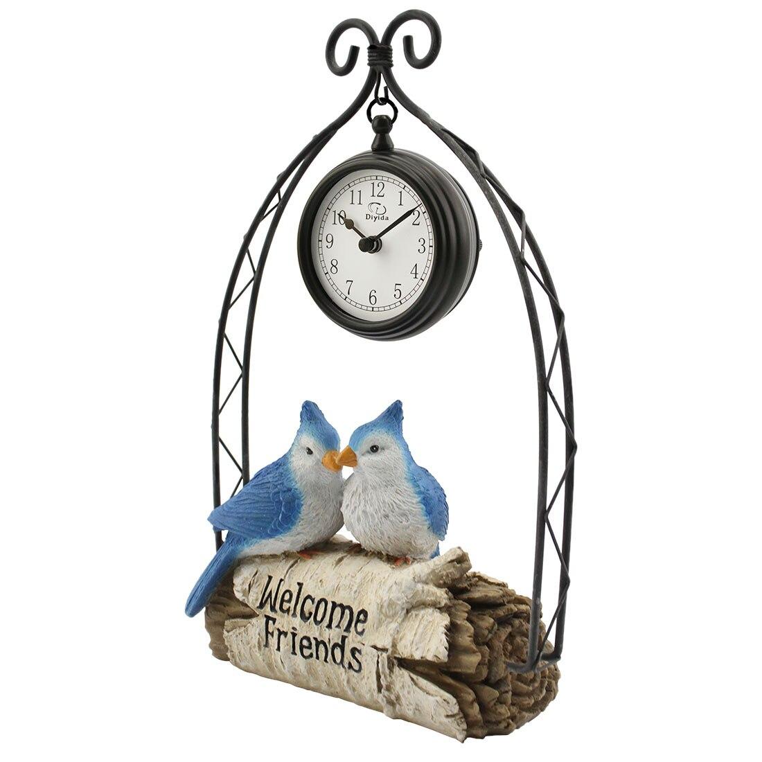 Creative bleu perroquet fer Table horloge horloge décorative perroquet bureau horloge maison bureau salon décor décorations offre spéciale