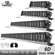 Co luz 8 14 22 32 polegada 6d 36w 72 120 180 led trabalho luz combo led barra de luz para condução offroad barco 4wd 4x4 caminhão suv atv
