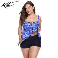 2018 Tankini Set Plus Size Swimwear Women Bathing Suits Two Piece Swimsuit Print Swimdress Bandage Big Size Swimming Suits