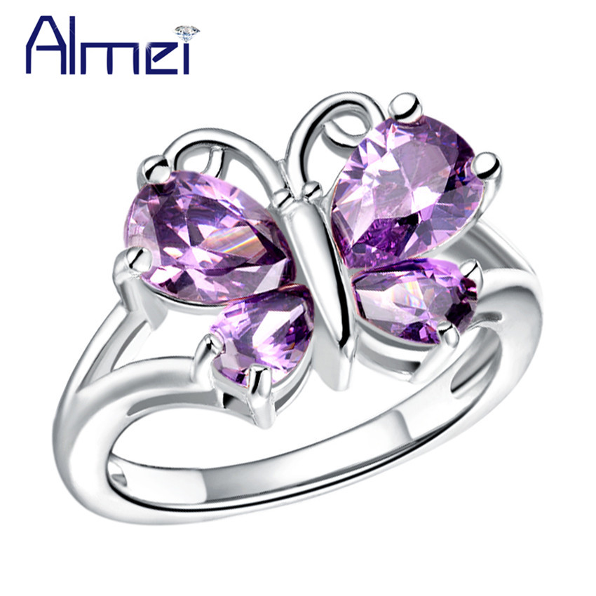 Top Almei Fashion Animal White/Purple Stone Butterfly Rings for Women  SV03