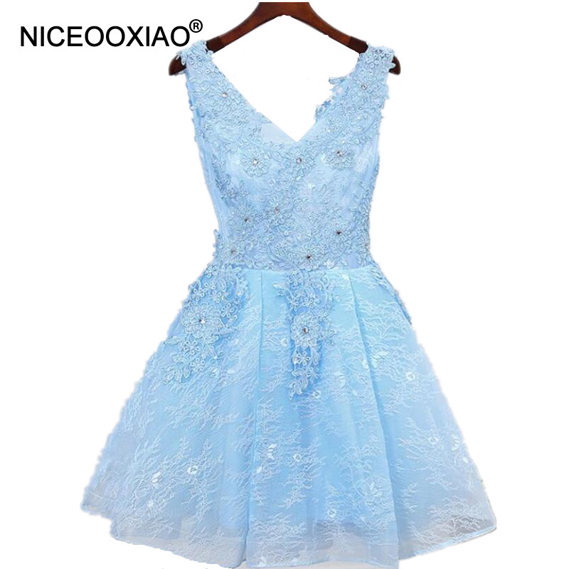 NICEOOXIAO Formal Banquet Party Occasion Dresses Robe De Soiree 2018 Lace Beaded Sexy Deep V Neck Short Evening Dress Ball Gown