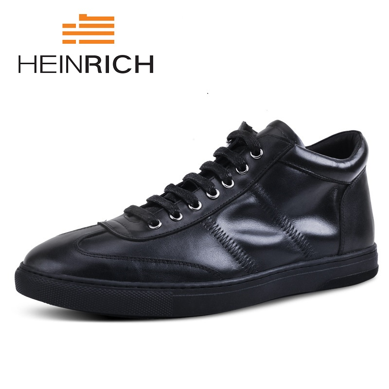 HEINRICH Casual High-Top Men Leather Shoes Genuine Leather Men Flats Brand For Men Loafers Comfortable Fashion Shoes fashion crocodile man casual shoes genuine leather cow comfortable loafers round toe designer brand men s business flats fd94