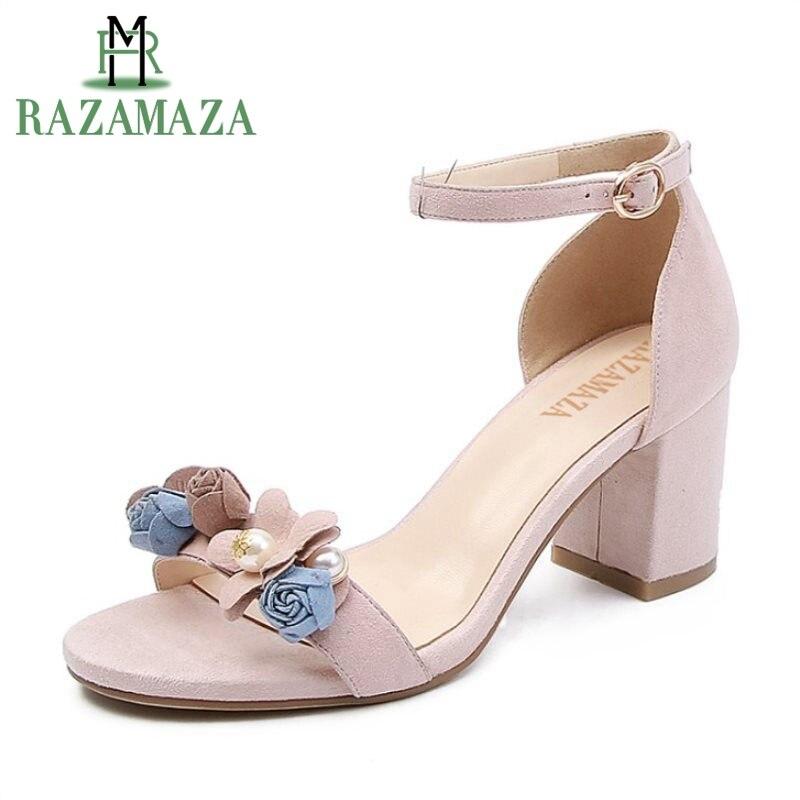 RAZAMAZA Women Genuine Leather High Heel Sandals Bowknot Ankle Strap Sandals Summer Vacation Shoes Woman Footwears Size 34-39RAZAMAZA Women Genuine Leather High Heel Sandals Bowknot Ankle Strap Sandals Summer Vacation Shoes Woman Footwears Size 34-39