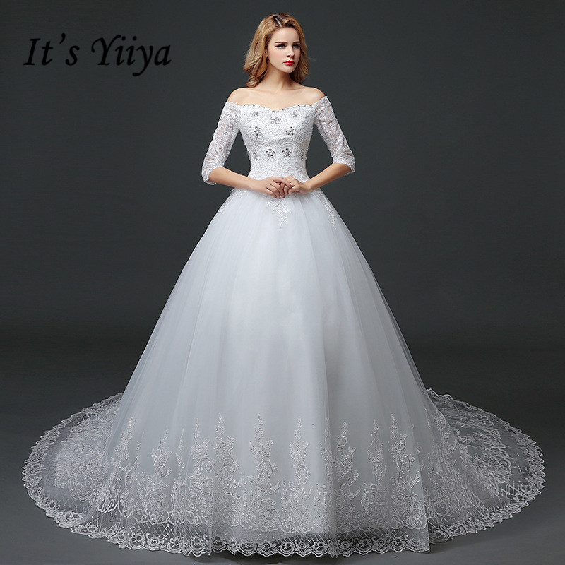 YiiYa 2016 New High Quality White Train Handmade Wedding