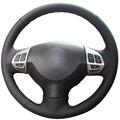 Couro artificial preto tampa da roda de direcção do carro para mitsubishi lancer lancer x outlander asx colt pajero sport ex10