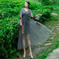 DoreenBow New Fashion Women Summer Dress Female Mesh Lace Dress Beach Casual Vintage Holiday Vacation Chic