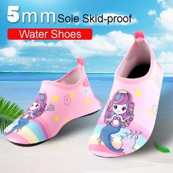 6880a57d9 Verano playa agua Zapatos Niños Aqua zapato 5mm suela niños niñas dibujos  animados descalzos buceo calcetines para nadar rápido- seco Zapatos Hombre