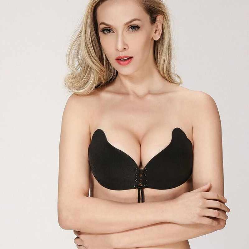 CFYH Women Push Up Bra Self-Adhesive Silicone Bust Lace Up Intimates Bras Strapless Invisible Bras Sujetador For Wedding Party