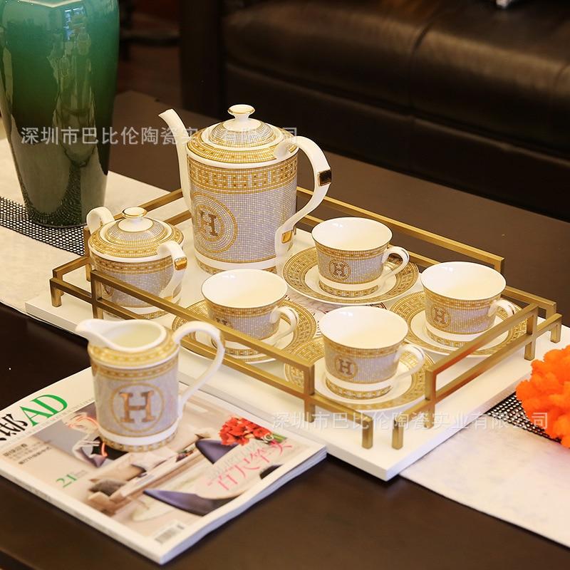 Pot de café en porcelaine à os européen | Costume de théière Golden Will H tasse et soucoupe style anglais thé de l'après-midi