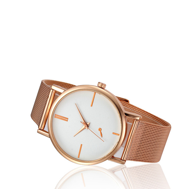 Rose Gold Mesh Stainless Steel Strap Wristwatch