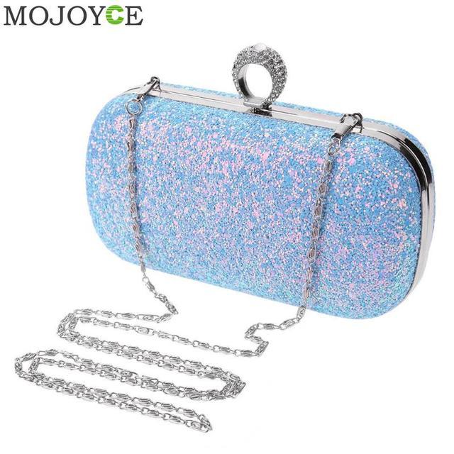 Women Ladies Blue Glitter Sequins Chain Handbag Sparkling Party Finger Ring Evening  Envelope Clutch Bag Hard Wallet Tote Purse db0b0b937624
