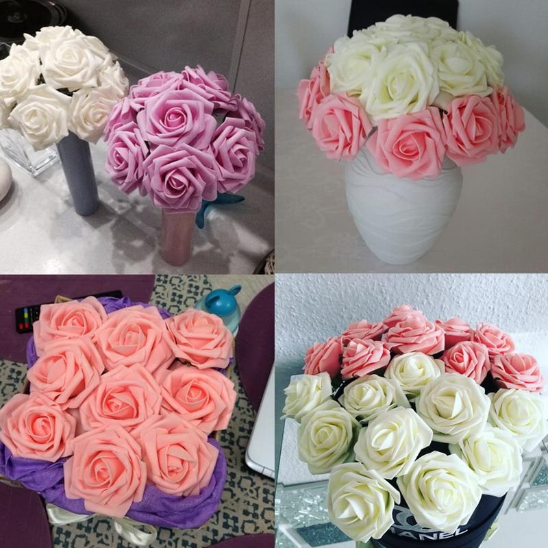 Nuevo 11 colores 10 cabezas 8cm flores de rosas artificiales Novia de - Para fiestas y celebraciones - foto 5