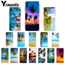 Yinuoda Summer Beach Scene on sea Palm Tree TPU Soft Phone Cell Case for iPhone 7 7plusX XS MAX  6 6s 8 8Plus 5 5S SE XR