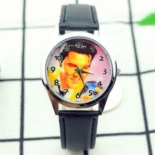 wholesale women men  Elvis Presley dial unisex high quality quartz watch kids commemorate casual leather gift wristwatch
