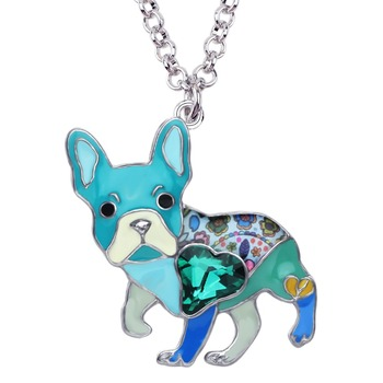 French Bulldog Pug Enamel Alloy Crystal Rhinestone Pendant