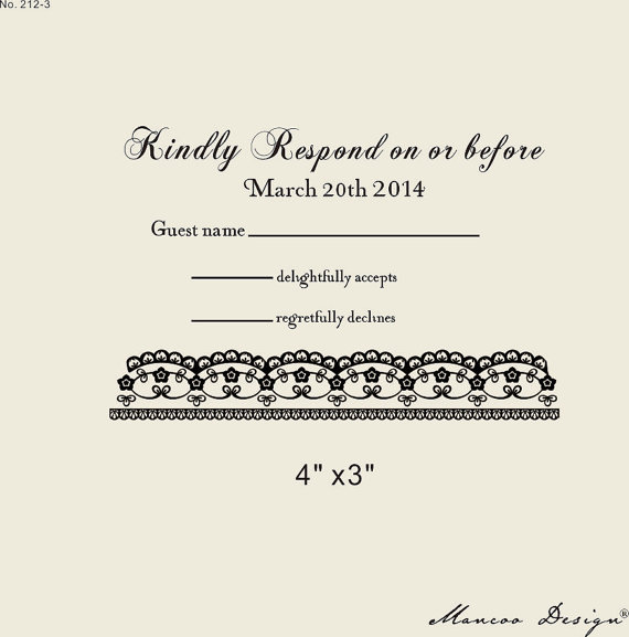 custom RSVP rubber stamp to create response cards custom Stamp lace