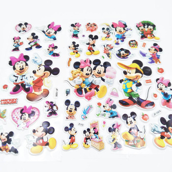 Mickey Mouse 6pcs Cartoon Mickey Mouse Sticker Children's Birthday Gift Toy Cute 3D Stereo PVC Bubble Sticker Child Reward DIY image