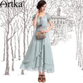 Artka Women's Summer Brief Cute Elegant Square Neck Short Puff Sleeves Ankle-Length Patchwork Solid Chiffon Dress LA10740X